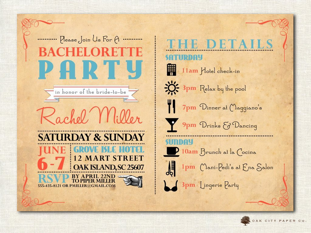 Bachelorette Weekend Itinerary Template New Bachelorette Invitation Bachelorette Party Invitation