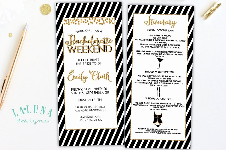 Bachelorette Weekend Itinerary Template New Bachelorette Party Invitation with Itinerary Bachelorette
