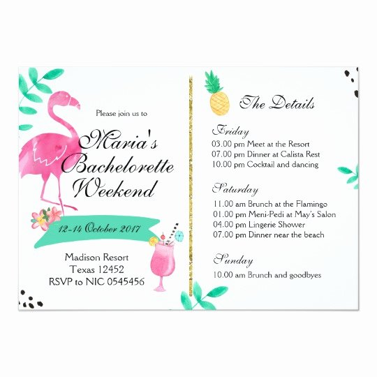 Bachelorette Weekend Itinerary Template Unique Flamingo Bachelorette Weekend Itinerary Invitation