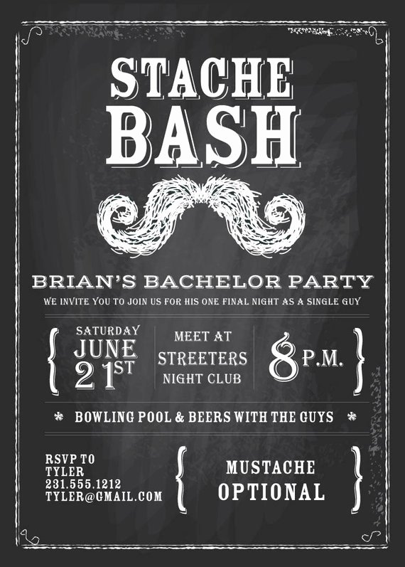 Bachelors Party Invitation Template Inspirational Items Similar to Chalkboard Bachelor Invitation