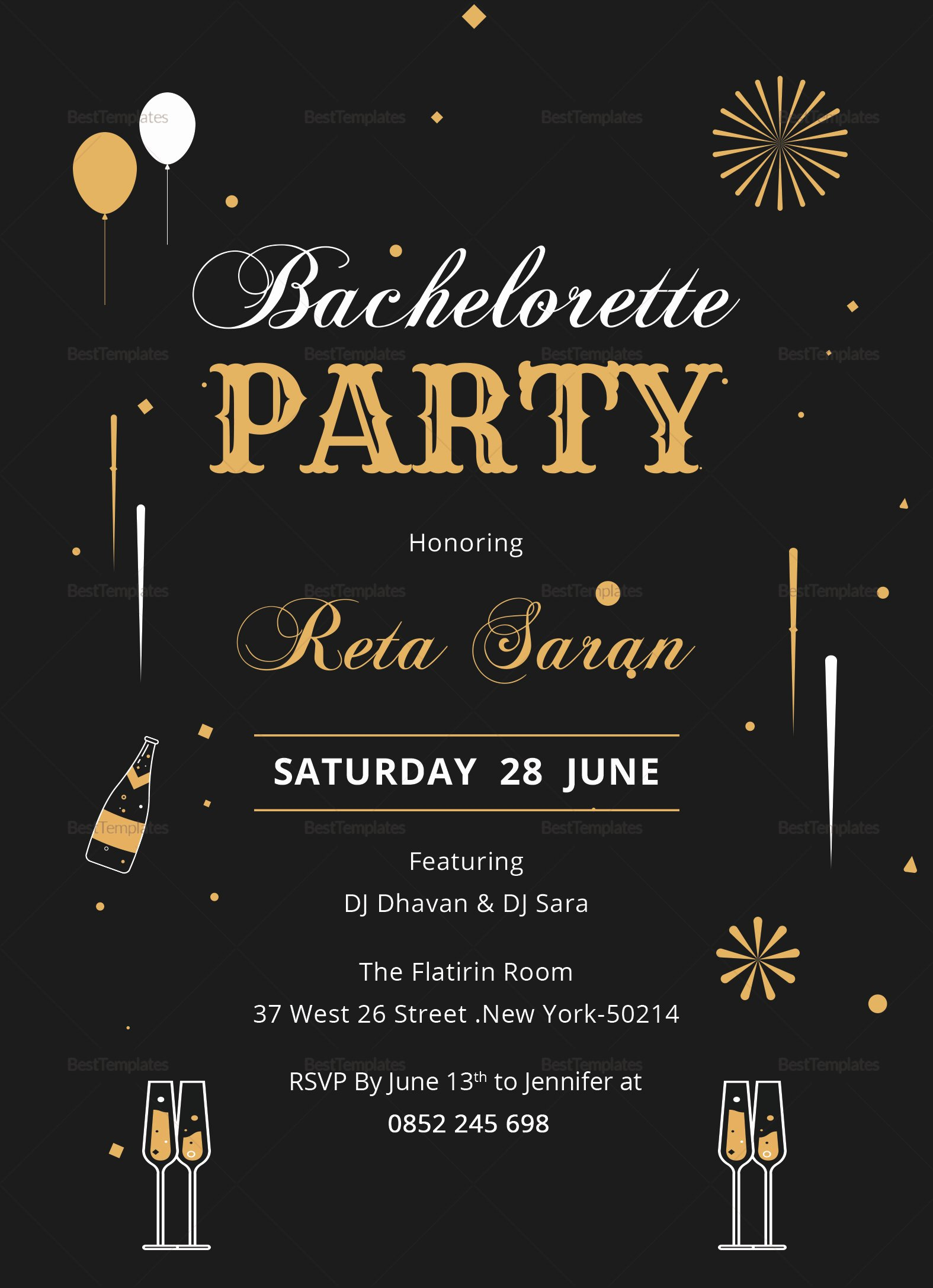 Bachelors Party Invitation Template New Bachelorette Party Invitation Card Design Template In Word
