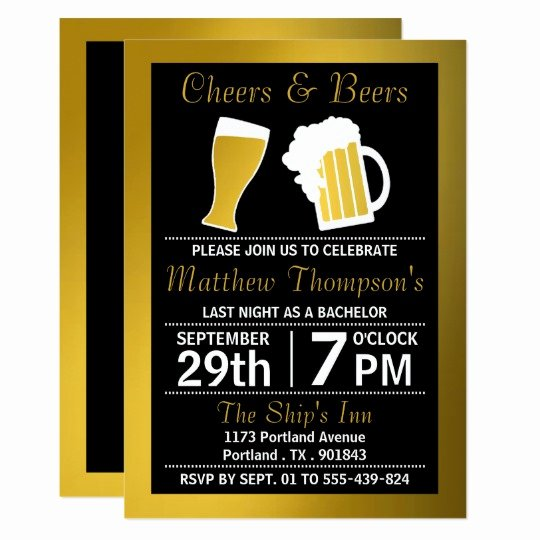 Bachelors Party Invitation Template Unique Cheers & Beers Black & Gold Bachelor Party Card