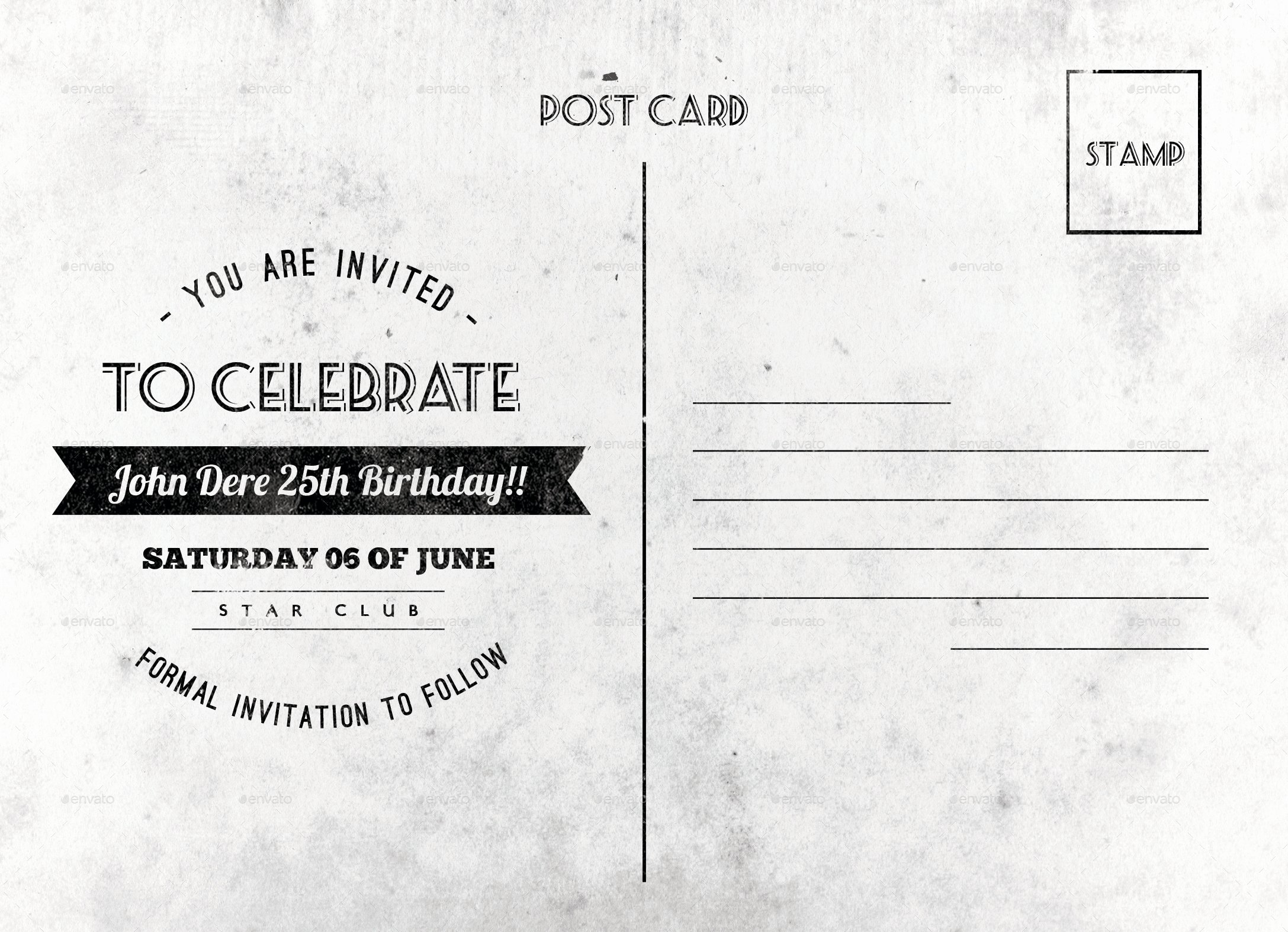Back Of Postcard Template Inspirational Vintage Birthday Postcard by Nishamehta