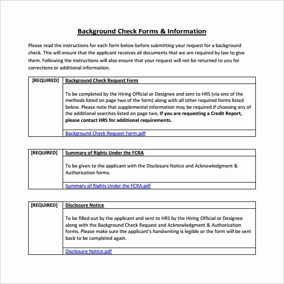 Background Check form Template Beautiful 8 Sample Background Check forms to Download