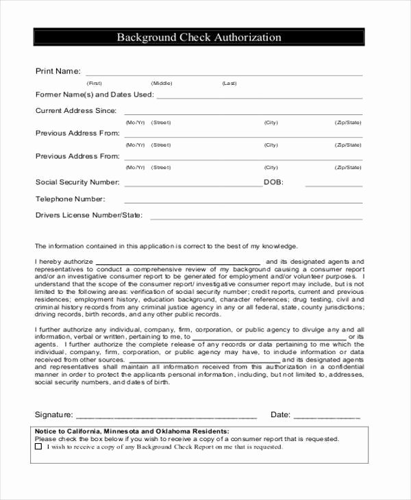 Background Check form Template Beautiful Authorization form Templates