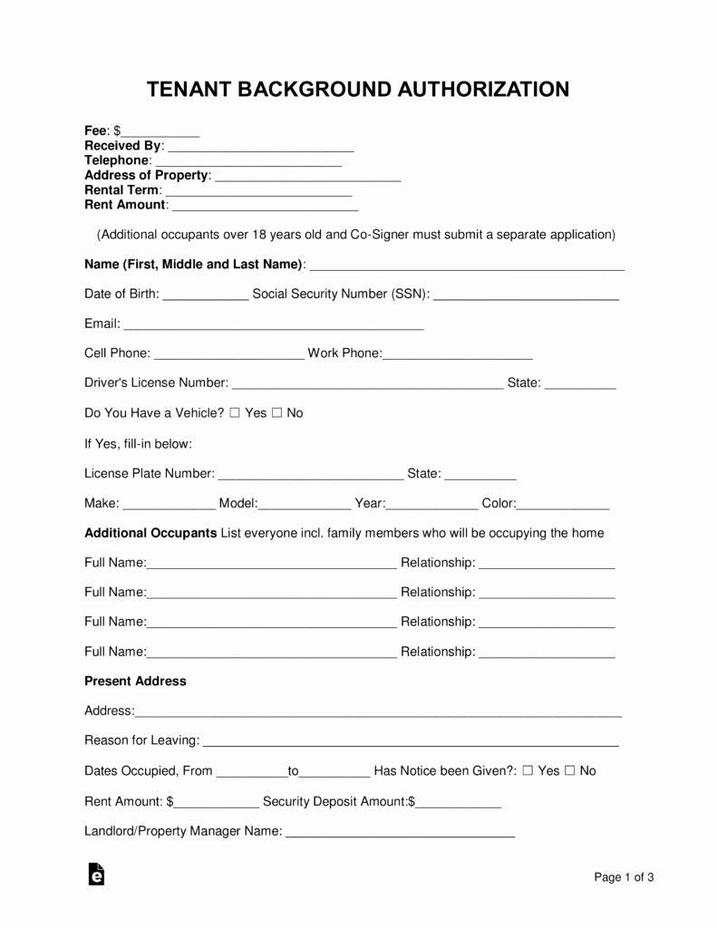 Background Check form Template Inspirational Free Tenant Renter Background Check form Word