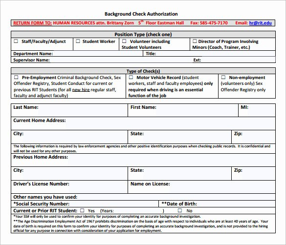 Background Check form Template Luxury 8 Sample Background Check forms to Download