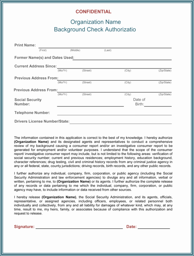 Background Check form Template Luxury Background Check Authorization form 5 Printable Samples