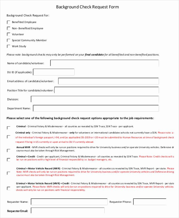 Background Check form Template Luxury Check Request form 11 Free Word Pdf Documents Download