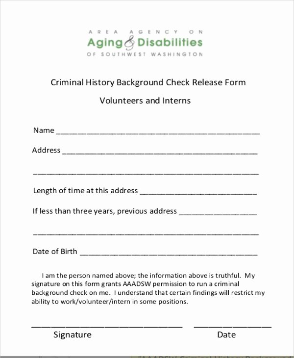 Background Check form Template New 8 Sample Background Check Release forms