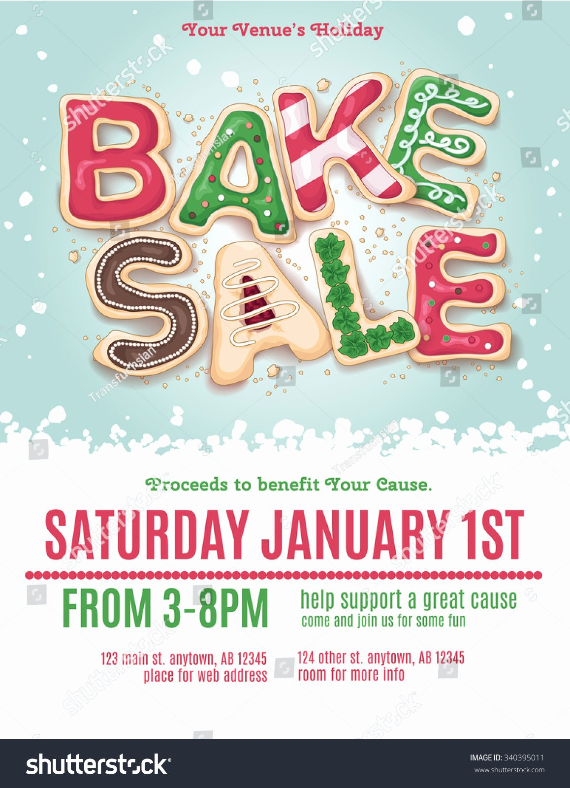 Bake Sale Flyer Template Fresh Christmas Holiday Bake Sale Flyer Template with Hand Drawn