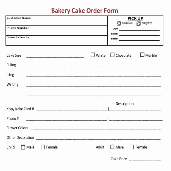 Bakery order forms Template Awesome Bakery order Template 20 Free Sample Example format