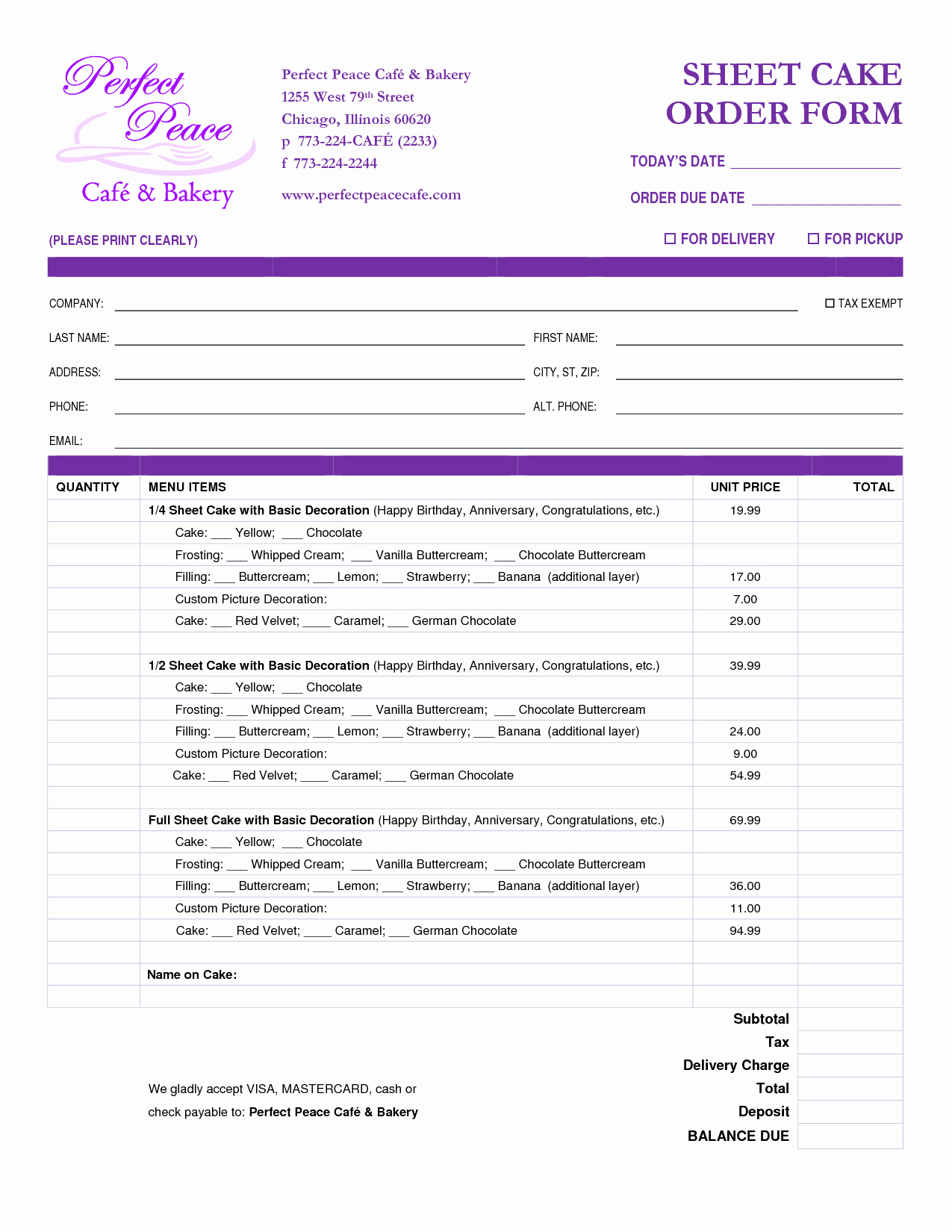 Bakery order forms Template Fresh 8 Best Of Sheet Cake Templates Printable Cake
