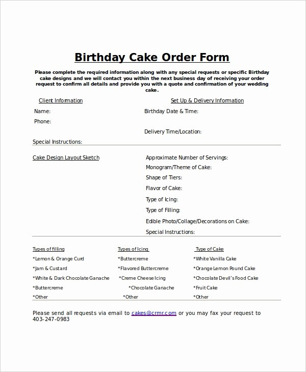 Bakery order forms Template Fresh order form Template 12 Free Word Pdf Documents