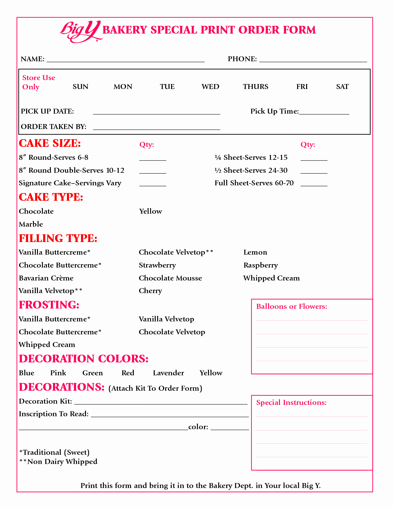 Bakery order forms Template New 8 Best Of Sheet Cake Templates Printable Cake
