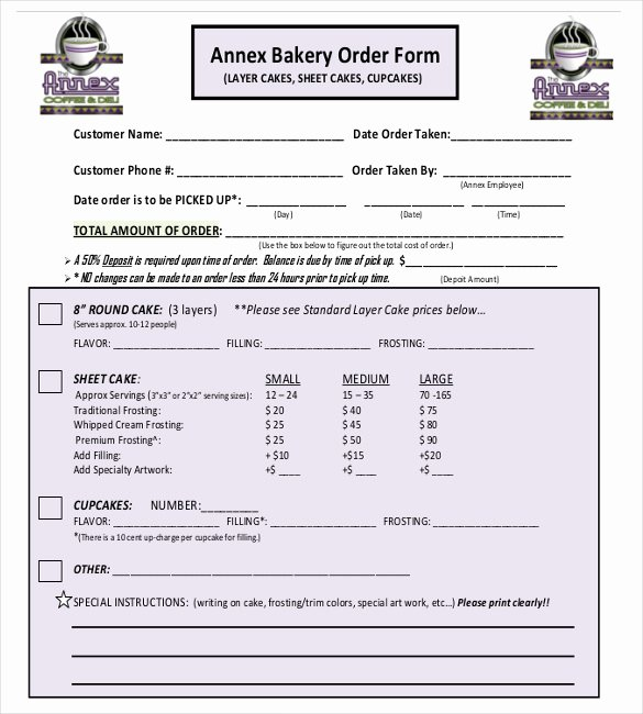 Bakery order forms Template Unique Bakery order Template 20 Free Sample Example format