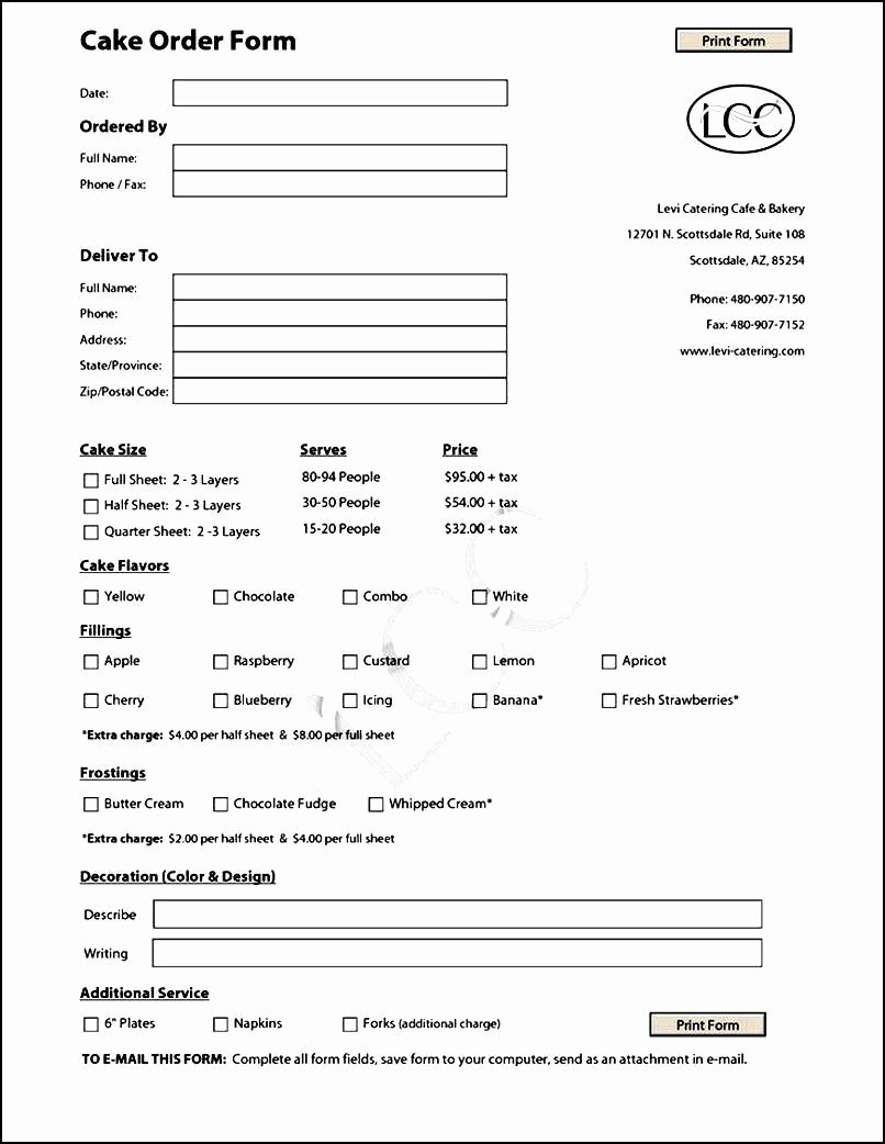 Bakery order forms Template Unique Cake order form Template Free