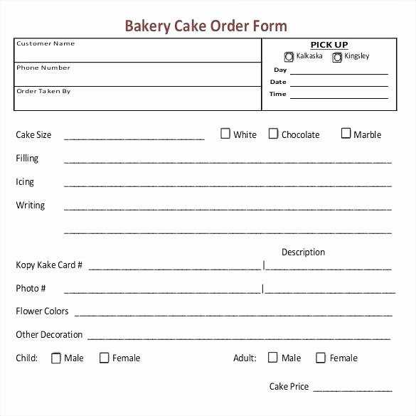 Bakery order forms Template Unique Cupcake order form Bakery forms Templates Template – Onbo