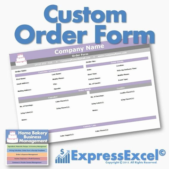 Bakery order forms Template Unique the Home Bakery Business Management Excel Spreadsheet