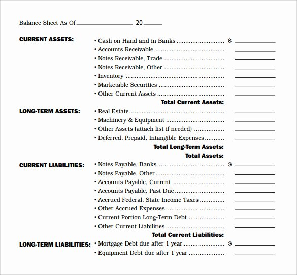 Balance Sheet Template Word Elegant 18 Sample Balance Sheets