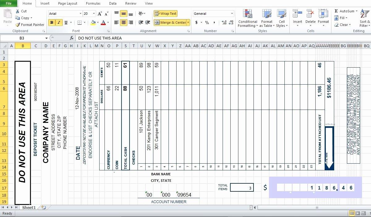 Bank Deposit Slip Template Beautiful Bank Deposit Slip Template Excel