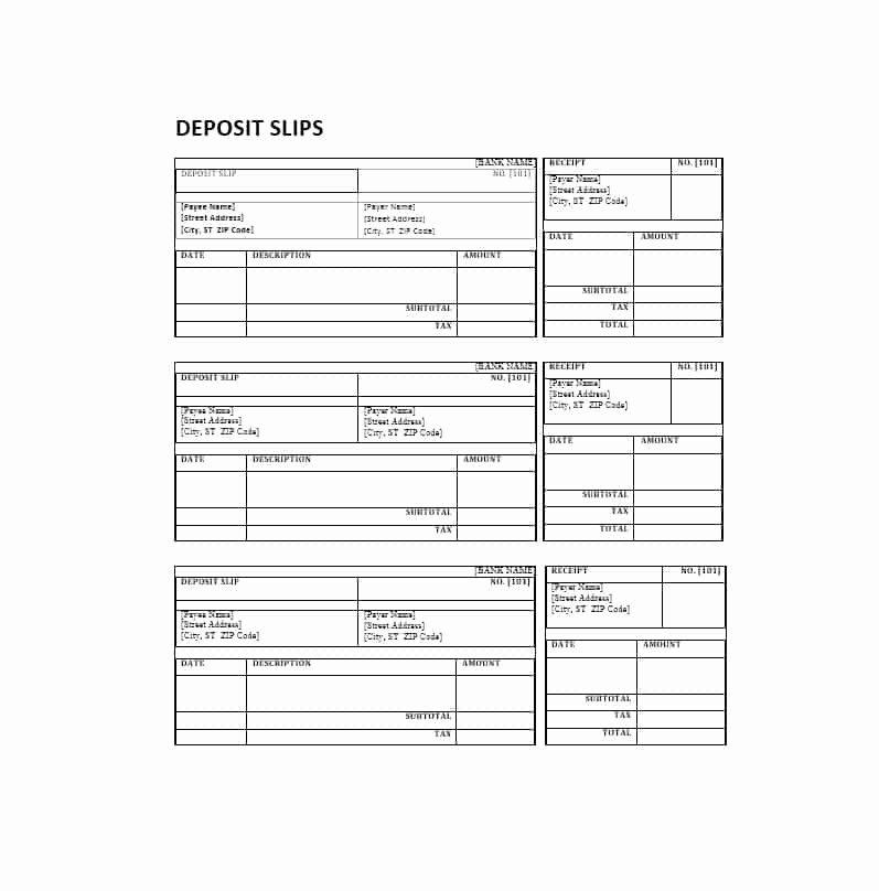 Bank Deposit Slip Template Inspirational 10 Deposit Slip Examples and Templates Pdf Doc