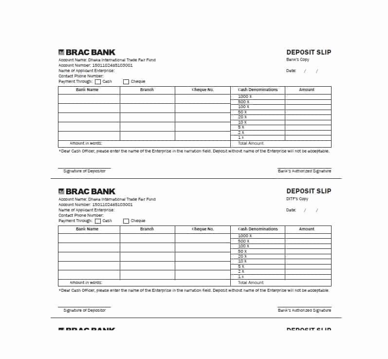 Bank Deposit Slip Template Unique 37 Bank Deposit Slip Templates & Examples Template Lab