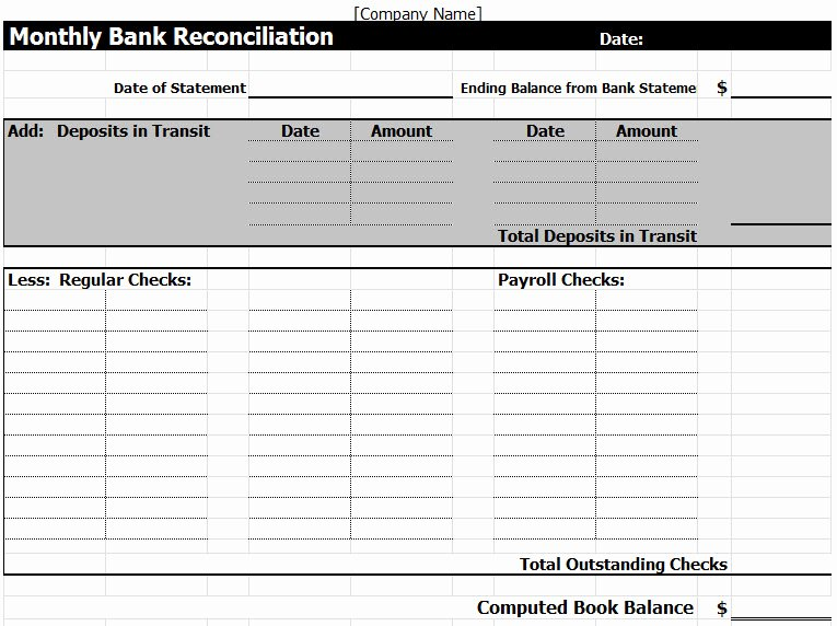 Bank Reconciliation Excel Template Lovely Bank Reconciliation Template