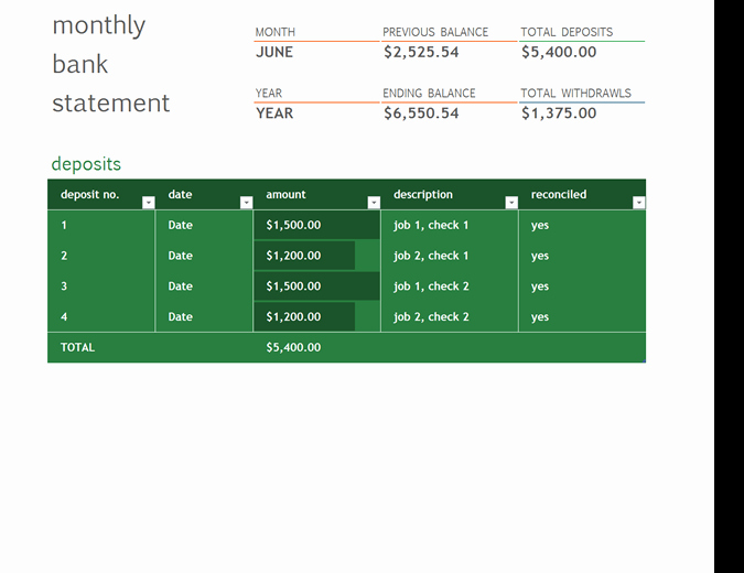 Bank Reconciliation Excel Template Lovely Monthly Bank Reconciliation