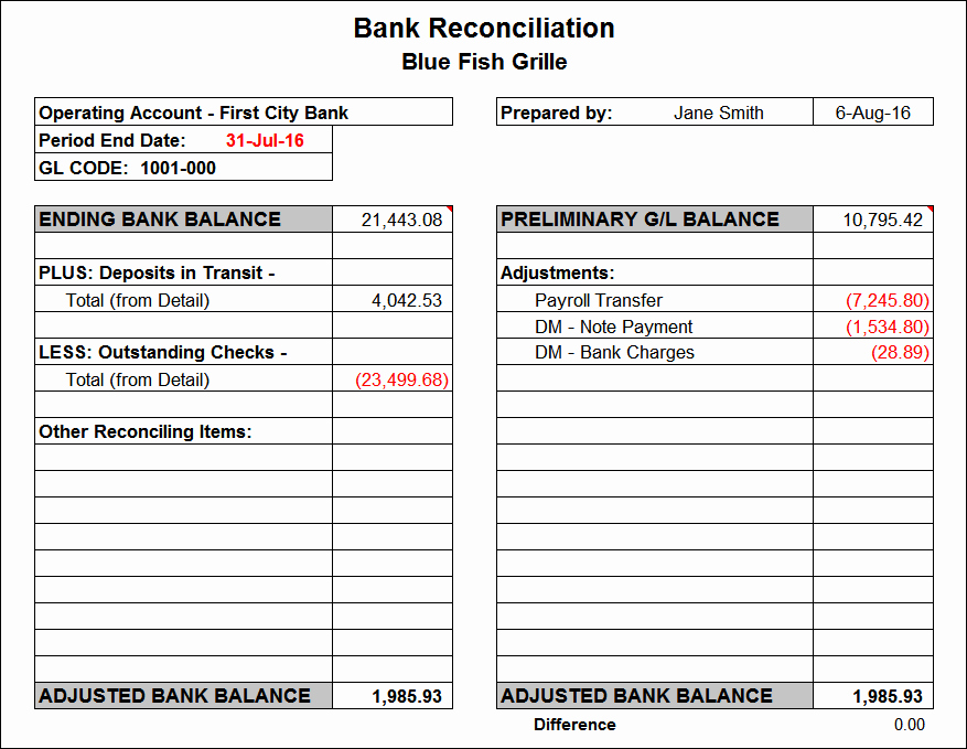 Bank Reconciliation Template Excel Beautiful Bank Reconciliation Template
