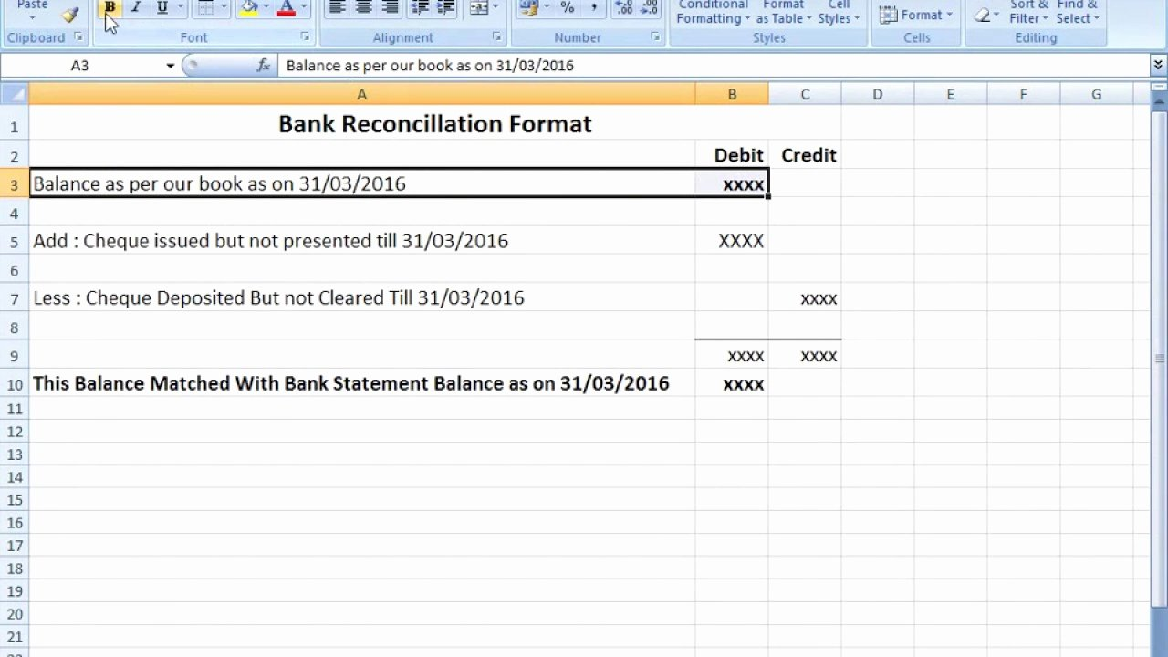 Bank Reconciliation Template Excel Elegant Bank Reconciliation Statement format In Excel after Seen