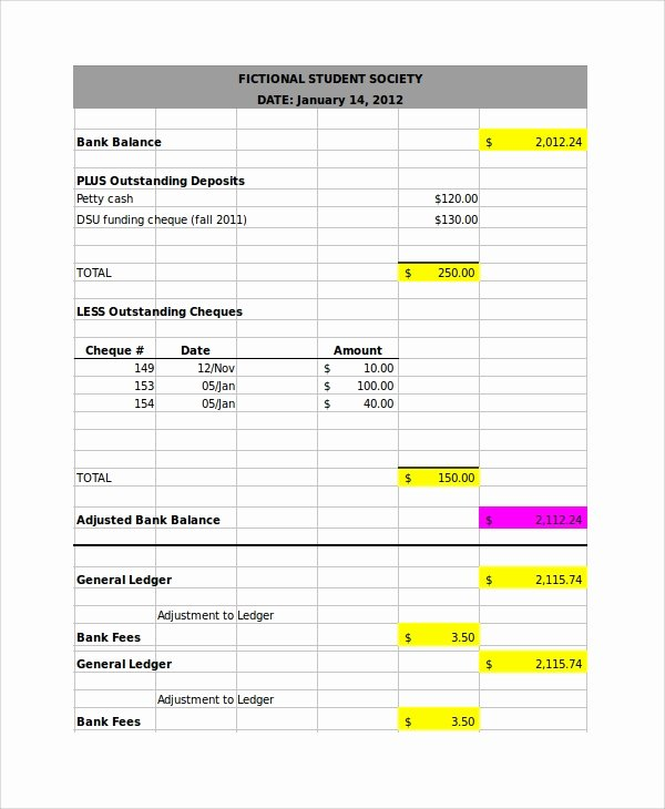 Bank Reconciliation Template Excel Inspirational 7 Bank Reconciliation Examples