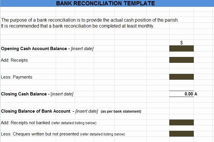 Bank Reconciliation Template Excel Luxury Bank Reconciliation Statement Excel format