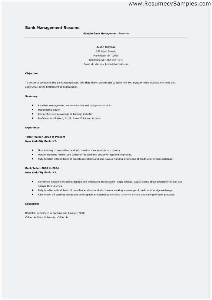 Bank Teller Resume Template Best Of Bank Teller Resume Samples Outstanding Resume for Bank