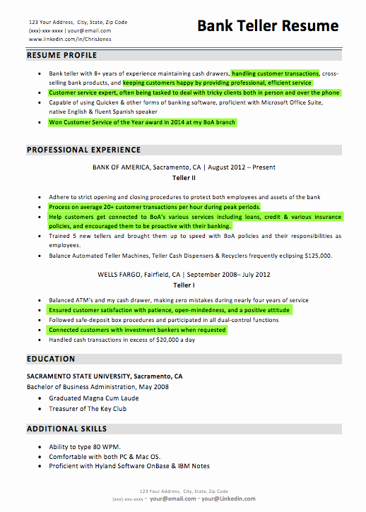 Bank Teller Resume Template Fresh Bank Teller Resume Sample & Writing Tips