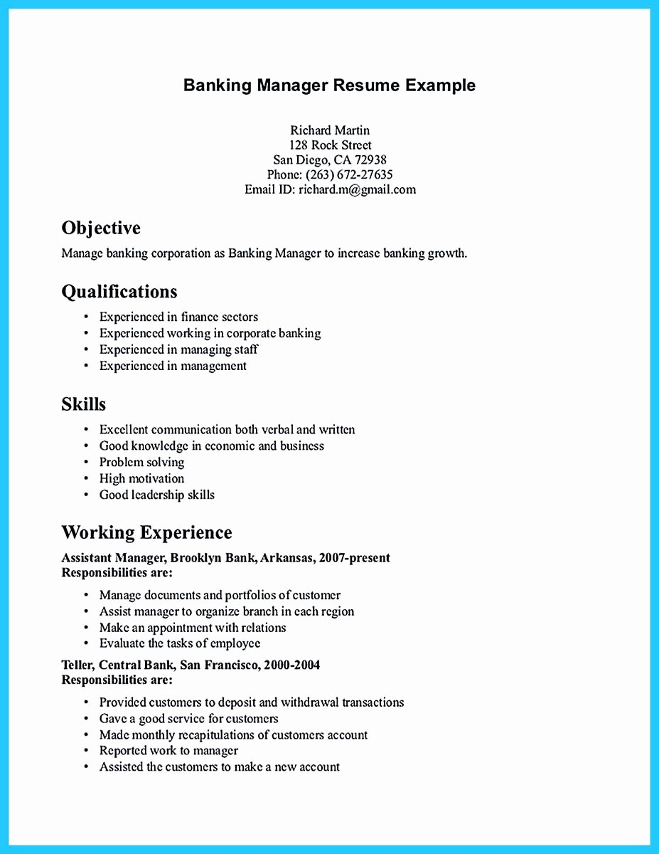Bank Teller Resume Template Lovely E Of Re Mended Banking Resume Examples to Learn