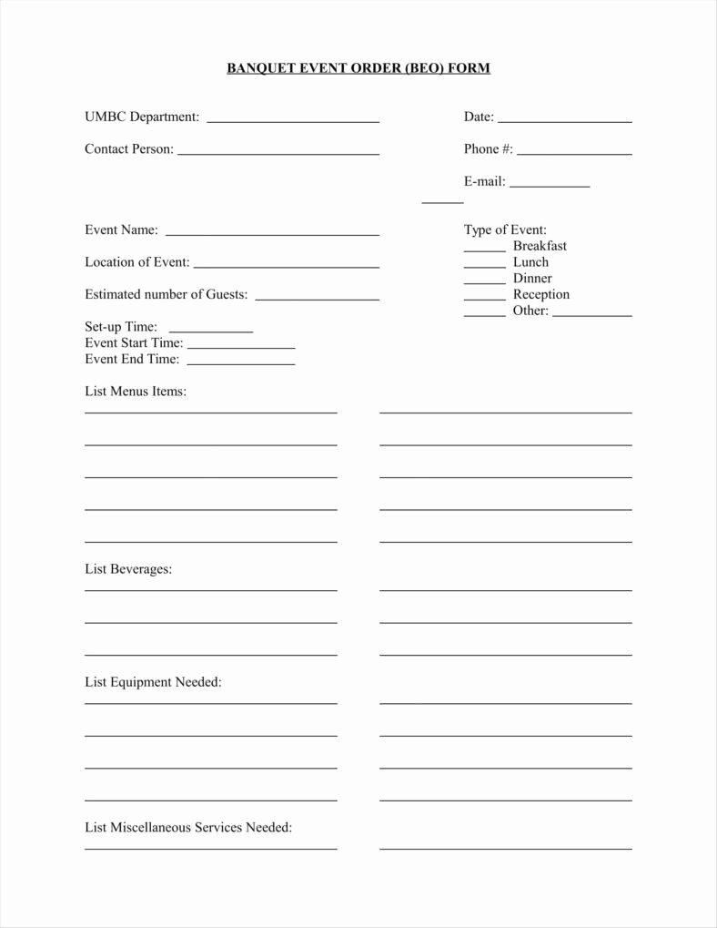 Banquet event order Template Beautiful 9 event order form Templates