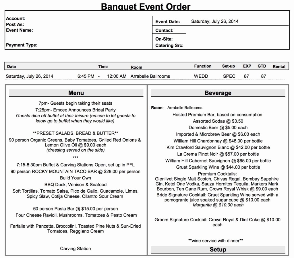 Banquet event order Template Inspirational What is A Beo