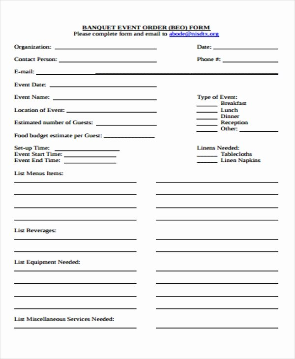 Banquet event order Template Unique 9 event order forms Free Samples Examples format