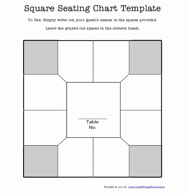 Banquet Seating Chart Template Unique Free Printable Square Table Seating Chart Template for