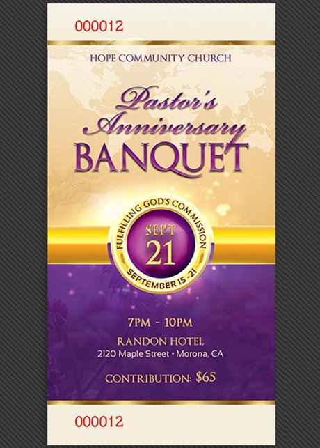 Banquet Tickets Template Free Lovely Clergy Anniversary Banquet Ticket Template On Behance