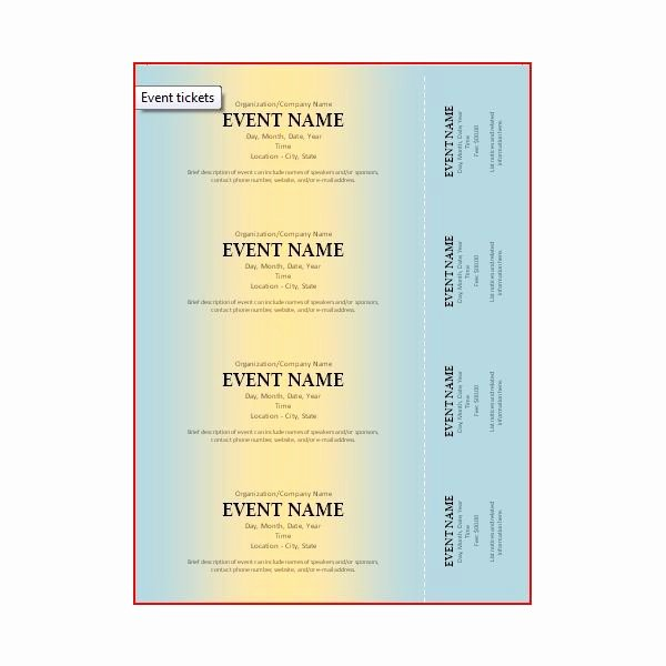 Banquet Tickets Template Free Unique the Best event Ticket Template sources
