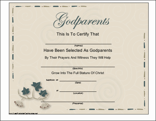Baptism Certificate Template Free Awesome A Certificate with A Script Title and Leaf Design to Be
