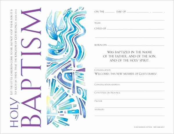 Baptism Certificate Template Free Beautiful Munity Child S Baptism Certificate Quantity Per