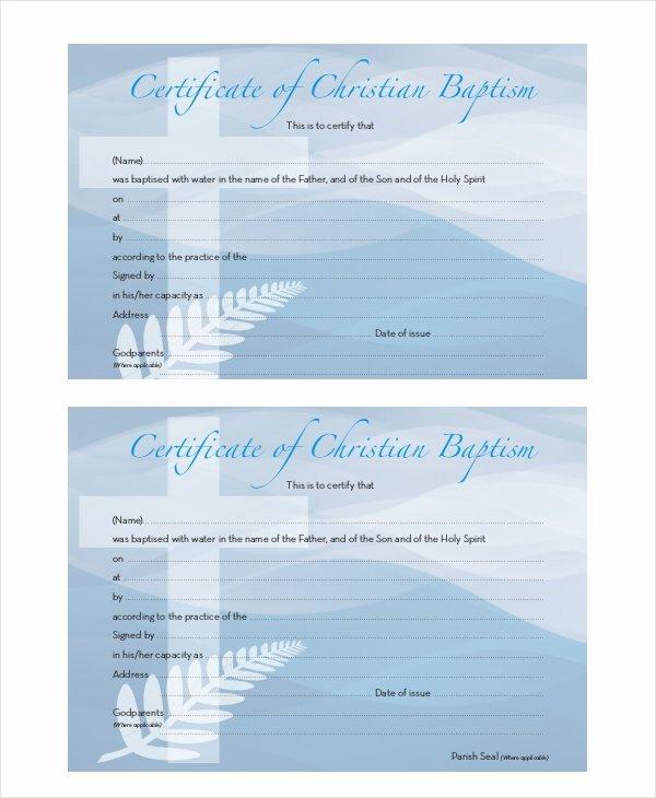 Baptism Certificate Template Free Elegant 21 Sample Baptism Certificate Templates Free Sample
