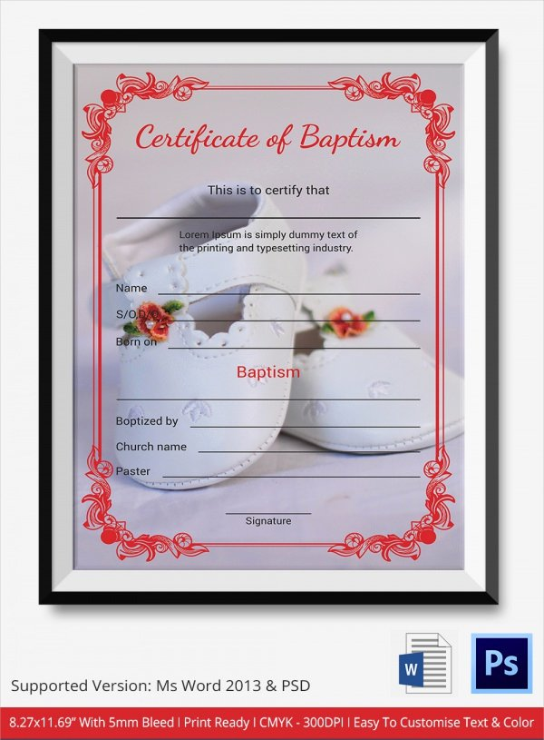 Baptism Certificate Template Free Fresh 20 Baptism Certificates