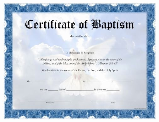 Baptism Certificate Template Free Fresh Free Printable Baptism Certificate