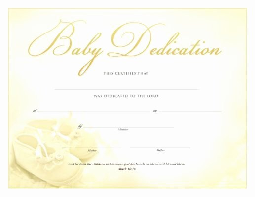 Baptism Certificate Template Free Fresh Printable Baby Dedication Certificate