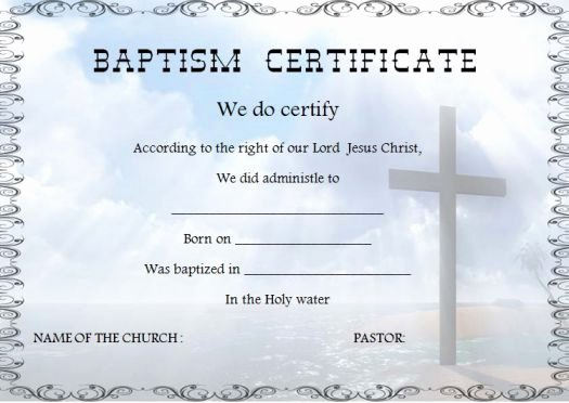 Baptism Certificate Template Free Inspirational 30 Baptism Certificate Templates Free Samples Word