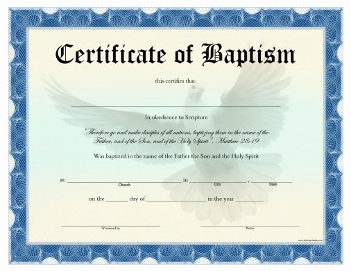Baptism Certificate Template Free Inspirational Certificate Of Baptism Free Printable Allfreeprintable